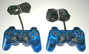 LOT ~ Official PlayStation 2 (PS2) BLUE DualShock Controllers ~ PARTS or REPAIR