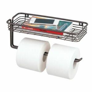 mDesign Metal Wall Mount Toilet Tissue Paper Holder/Storage Shelf - Bronze