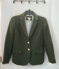 J Crew Wool Dark Green Jacket Single Breasted