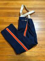 DeMoulin Marching Band Mens Pants with Stripes Suspenders 32x27.5 Navy VTG USA