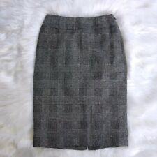 Anne Klein Stretch Herringbone Skirt Black Off White Plaid Wool Blend Size 2P