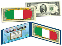 ITALY - Flags of the World Genuine Legal Tender U.S. $2 Bill Currency