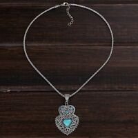 Double Heart Turquoise Pendant Necklace Necklace Chain Jewelry For Women