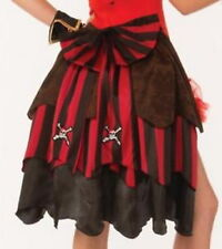 Pirate Bustle Red/Blk/Brown 3 Ruffled Pin On Skirt Bustle With Bow Costume Acc.