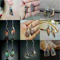 Boho Fashion Womens 925 Silver Germstone Earrings Ear Hook Drop Dangle Jewelry