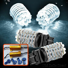 White 3157/3156 63-LED Front & Rear Turn Signal Light Bulbs/Bulb+Resistors Combo
