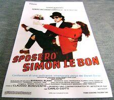 """LOCANDINA CINEMATOGRAFICA DEL FILM """"SPOSERO' SIMON LE BON"""" 33 x 50 (PANINARO)"""