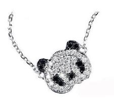 Super carino piccolo cristallo color argento panda collana