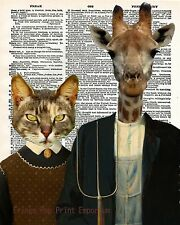 American Gothic Art Print 8 x 10 - Animal Parody - Anthropomorphic - Cat Giraffe