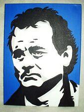 Canvas Painting Bill Murray Portrait Blue B&W Art 16x12 inch Acrylic