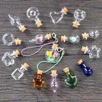 5Pcs Mini Glass Cork Bottles Empty Sample Jars Wishing Bottle Wedding Home Decor