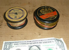 Vintage 2 Wood Fishing Line Spools,Black Ghost Gravenetted,Derry Irish Linen,Old