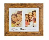 I Love Mom Frame, Dark Walnut Brown 8x10 Frame with Real Glass for two 4x6 Photo