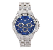 Iced Watch Bling Simulate Diamond Silver Blue Metal Band Chronograph Dial Luxury