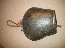 Vintage Antique Brass Cowbell With Leather Strap - deep sound *Nice*