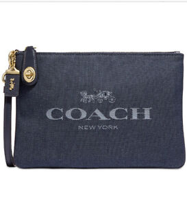 ❤️ Coach Turnlock Denim Multi/Gold Pouch 26 With Horse And Carriage