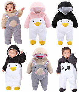 Newborn Baby Hoody Jumpsuit Outfit Winter Warm Rompers Toddler Clothing Bodysuit