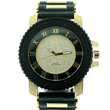 MENS ICED OUT BLACK/GOLD CAPTAIN BLING ICE NATION HIP HOP BULLET BAND WATCH