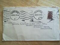 Enveloppe 1943 Destinée Johannesburg Timbre sud afrique Aviateur