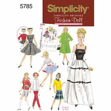 """Simplicity SEWING PATTERN 5785 Retro 1960s Clothes For 11.5"""" Fashion Dolls"""