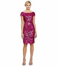 10 JS COLLECTIONS Pink Berry Black Sequined Lace Off Shoulder Sheath Dress NWT