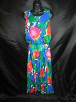 Vintage REO Size 10 S M Blue Pink Floral Sleeveless Dress Summer Midi Shift 80s
