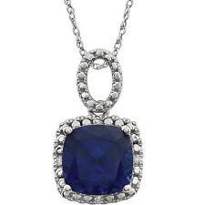 Sintético Zafiro Azul & Diamante 45.7cm Collar en 14k ORO BLANCO