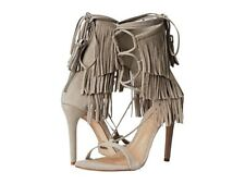 NEW Schutz Kija Suede Fringe Sandals Heels - Ciment Grey (Taupe Gray) Size 7 7B
