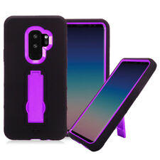 FOR SAMSUNG GALAXY S9 PLUS G965 BLACK PURPLE IMPACT STAND CASE HYBRID COVER
