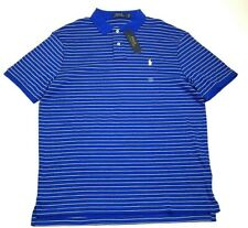 NWT Polo Ralph Lauren Mens Large Blue White Stripe Short Sleeve Polo Shirt