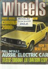 WHEELS MAGAZINEMAY 1974 CORONA 2000 HOW TO BEAT RUST AUSSIE ELECTRIC CAR TORANA