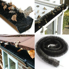 4m Black Gutter Guard Brush Leaf Protection Filter Clog Removal Down-Pipe Roof