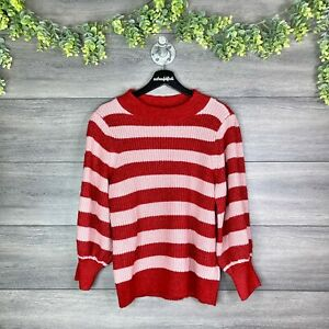 HALOGEN x ATLANTIC PACIFIC NWT Red Pink Monte Striped Blouson Sleeve Sweater L