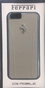Genuine Ferrari 488 Leather Cover Case Silver Logo For iPhone 6 & 6s