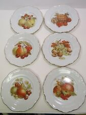 6 Bavaria Germany Fruit Dessert Plates Gold Scalloped Edge Pears Nuts Pineapple