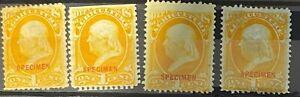 US SCOTT #O1s Official postage Specimen Agriculture dept. 1c 4 ea