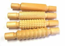 4 Textured Wooden Rollers. Modelling Effects Clay etc. Perfect for Art & Craft
