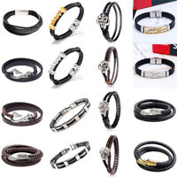 Valentine Gift Friendship Magnetic Leather Braided Bracelet Wristband Men Ladies