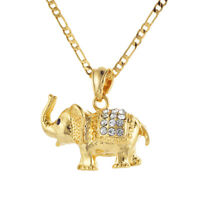 Women Men Gold Plated Cute Lovely Elephant Pendant Necklace Chain Jewelry