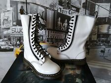 Dr Martens white Patent Leather 14 Eye double zip Lace up  Boots Women's US 8