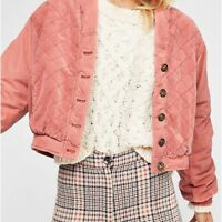 """New Free People """"Main Squeeze"""" Bomber Jacket, Pink, US XS, UK Small, RRP £128"""
