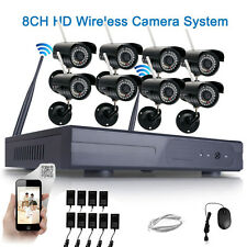 8PCS Wireless WIFI 8CH CCTV NVR Outdoor IP Camera Security System Night Vision