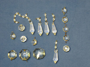 Mixed lot of vintage lamp crystal prisms