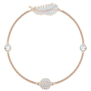 Swarovski Remix Collection Feather Strand White, Rose-gold tone plated