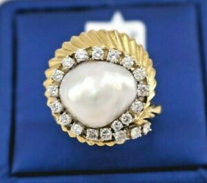 18k Yellow Gold 1.00 CT Diamond & Pearl Ladies Ring, 12.7gm, Size 8.5, S105097