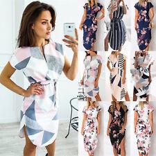 Womens Beach Holiday Sundress Short Sleeve Bodycon Floral Print Party Midi Dress