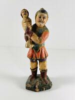 Antique Wood Carved Soldier Warrior Santos Statue folk art w/ Baby NICE
