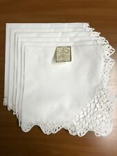 "Cotton with Crochet Lace Dinner Napkins 20""X20"":Set of 6: (N4011W)"