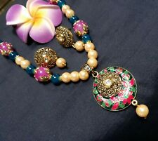 Indian Necklace Set/Multicolored Pearl Indian LightWeight Necklace and Earrings