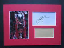 MANCHESTER UNITED DAVID BECKHAM GENUINE HAND SIGNED A4 MOUNTED CARD w/PHOTO- COA